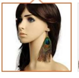 Real Peacock Feather Earrings